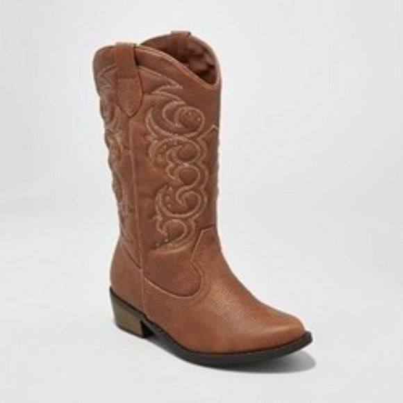 Girls Western Cowboy Cowgirl Boots Brown Size 4,6
